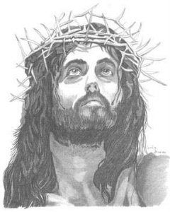 Crown Of Thorns Drawing : crown, thorns, drawing, Crown, Thorns, Jesus, Sketch,, Portrait, Drawing,, Illustration