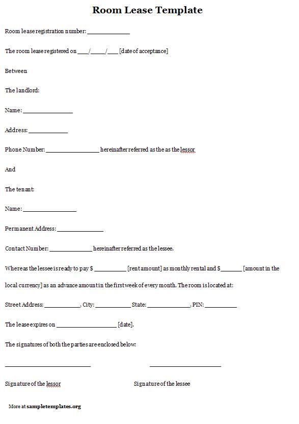 Printable Sample Room Rental Agreement Template Form  Real Estate Forms  Rental agreement