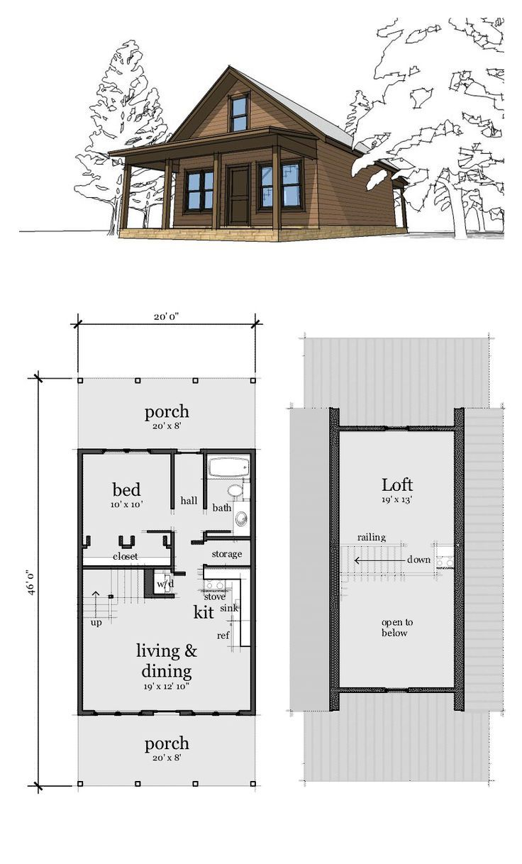 Image result for 19 x 28 ft 1 bedroom cabin plans | Dream ...