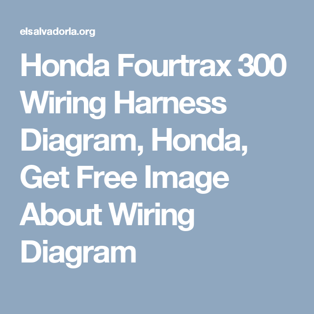 Honda Fourtrax 300 Wiring Harness Diagram, Honda, Get Free Image ...