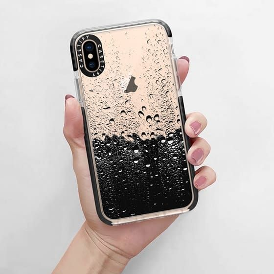 8abcd98bf7 Casetify Impact iPhone Xs Case - Wet Transparent by Ron Hardy, protective,  clear, cute, nature, rain, black, lovely, apple