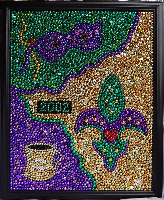 Original wall art, Custom Order, Mardi Gras bead mosaic, collage ...