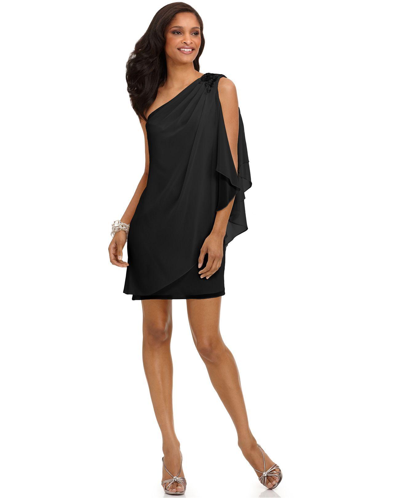 Js boutique dress one shoulder draped evening dress macys