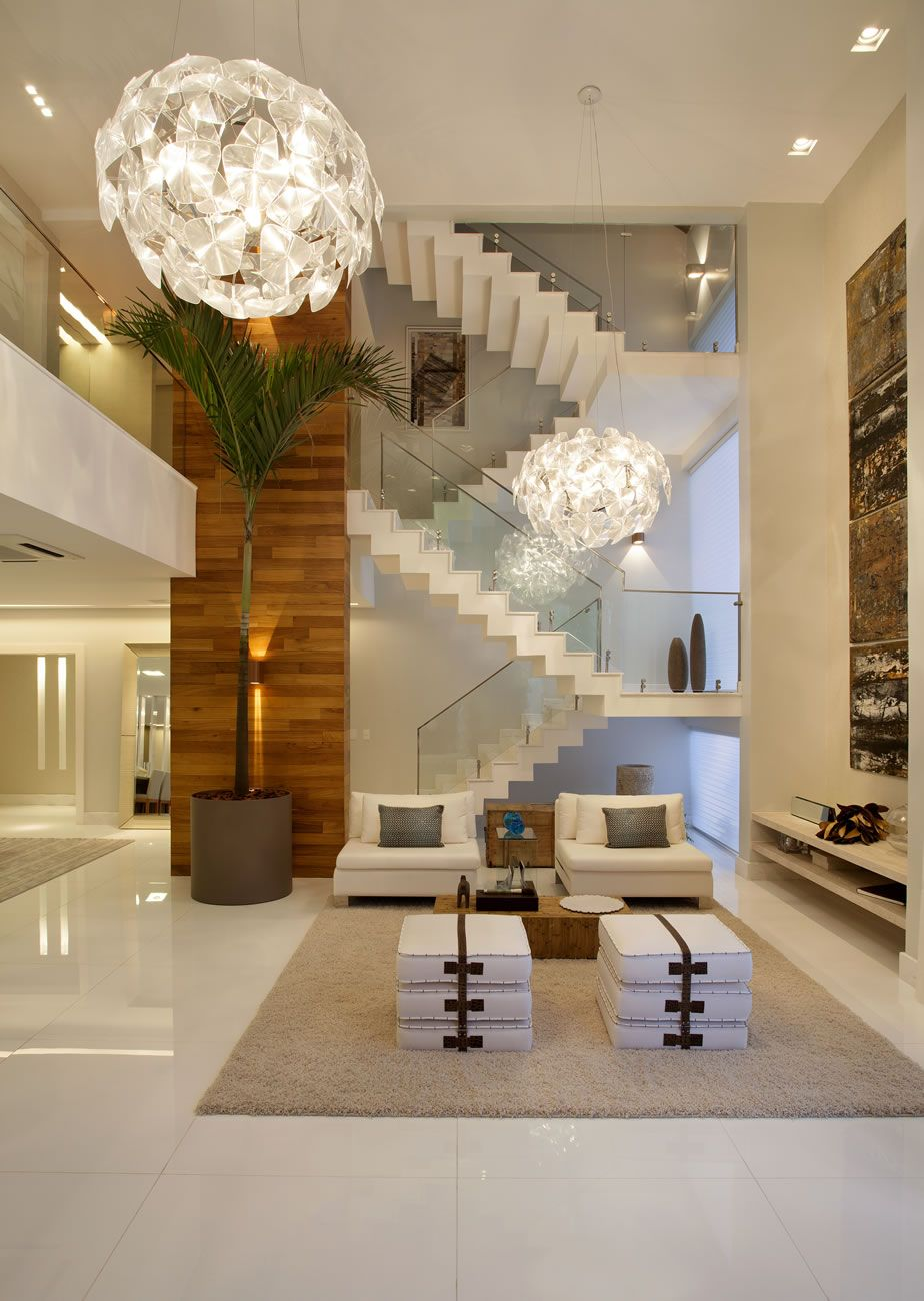 Casa com p direito duplo moderna veja dicas de for Sala design moderno