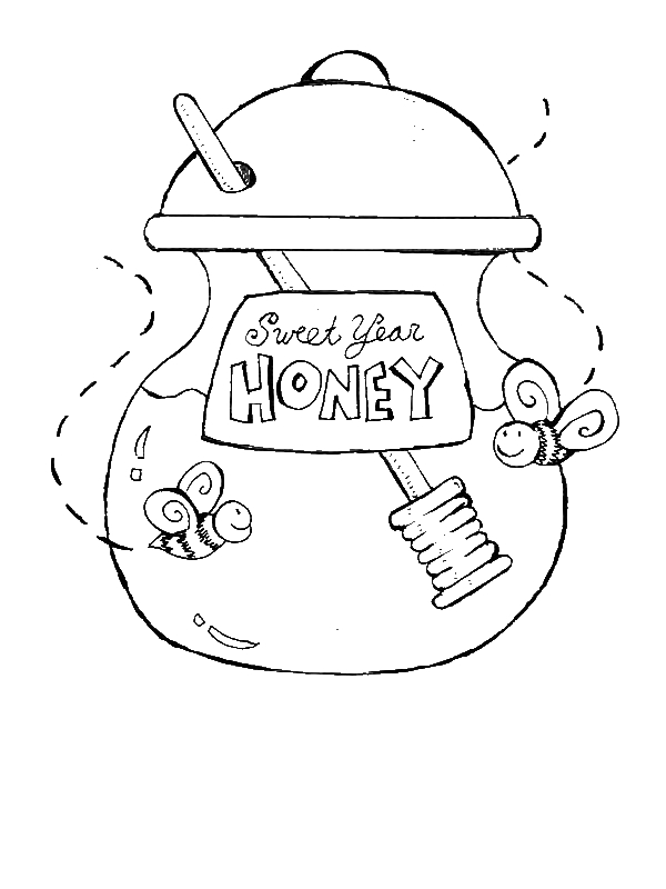 A Jar Of Sweet Year Honey For New Years Eve Party Coloring