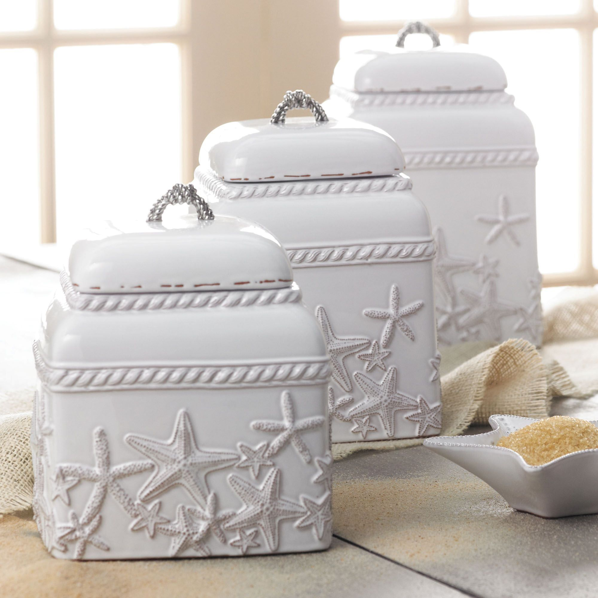 Starfish Kitchen Canisters White Set of Three
