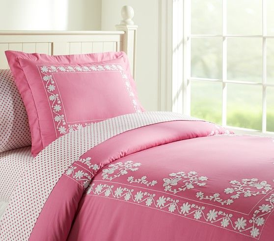 Isabelle Duvet Cover Pink Duvet Cover Embroidered Duvet