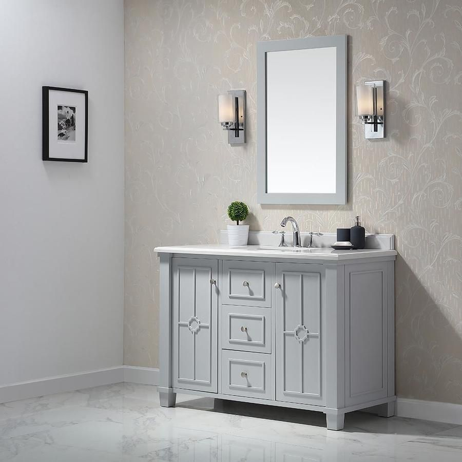 Ove Decors Positano 48 In Dove Gray Single Sink Bathroom Vanity With White Cultured Marble Top Lowes Com Single Sink Bathroom Vanity Bathroom Sink Vanity 48 Inch Bathroom Vanity