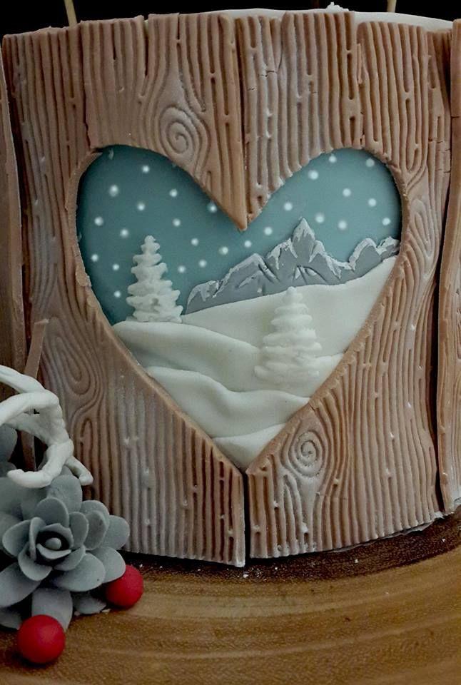 Christmas cake wood bear hare snow acorns berries fondant sugarpaste antlers bunting