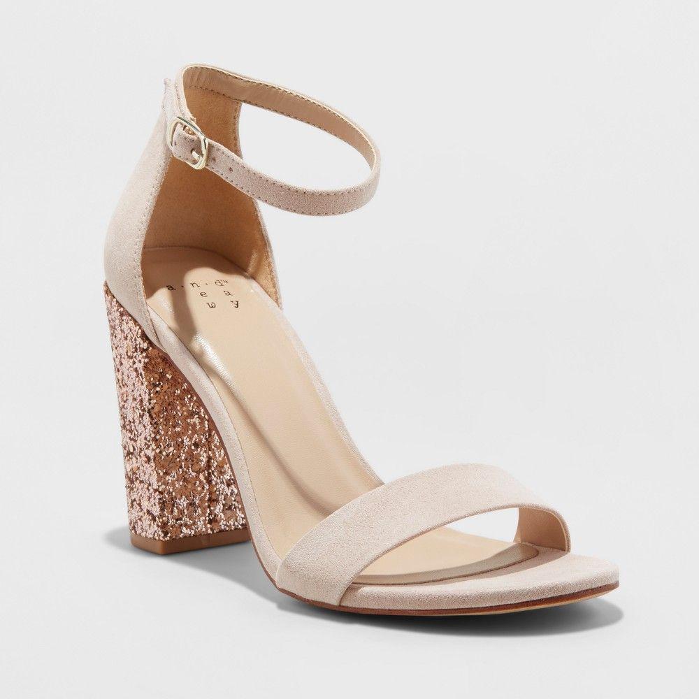 641de4bb41a70 Women s Ema Glitter Satin Wide Width High Block Heel Pump Sandal - A New  Day Rose Gold 5W