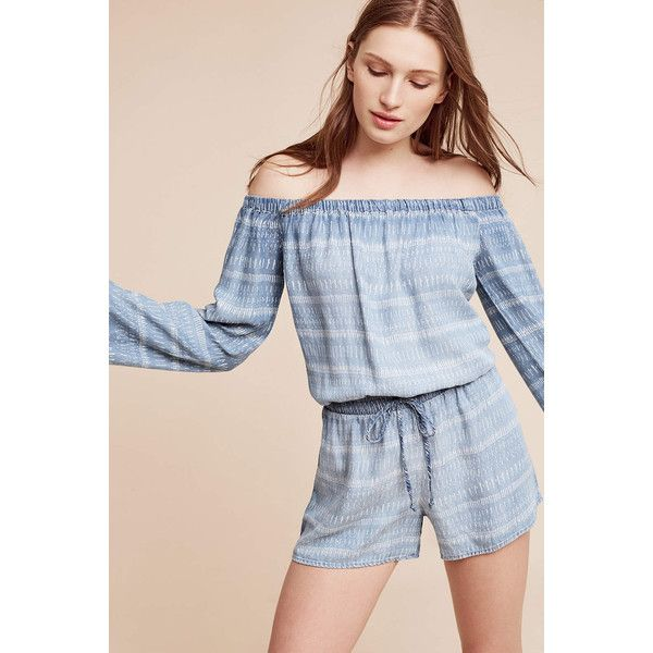 b7612b2edc72 Cloth   Stone Striped Chambray Off-The-Shoulder Romper ( 128) ❤ liked on  Polyvore featuring jumpsuits