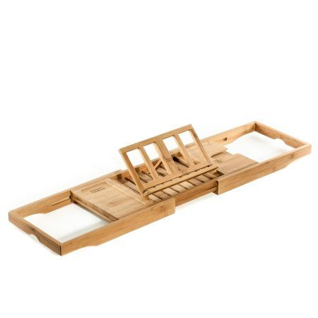 Prosumer\'s Choice Bamboo Bathtub Caddy Over Tub Tray Organizer With ...