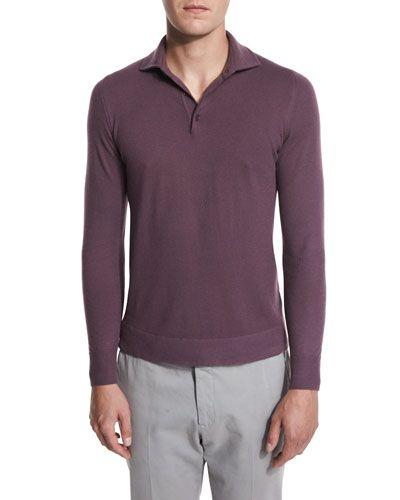 Mens Wish Virgin Wool Long-Sleeve Polo Shirt Loro Piana Free Shipping Best Wholesale 1g6AFplwO
