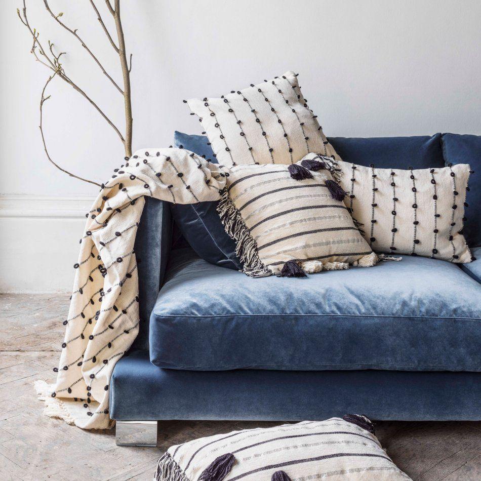 Dreaming Of Sinking Into This Blue Velvet Sofa Blue Sofas Living Room Decorative Sofa Throws White Throws