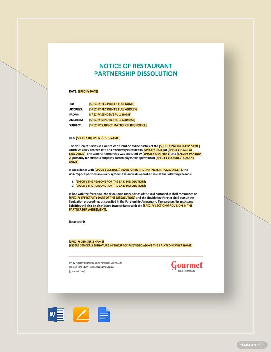 notice of restaurant partnership dissolution marketing good resume examples for customer service profile summary mechanical engineer director samples