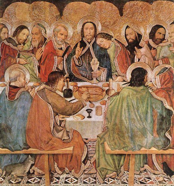 Jaume Huguet (v. 1415-1492) : la dernière cène. Vers 1470. Bois, 172 x 164 cm. Barcelone, Museu Nacional d'Art de Catalunya.