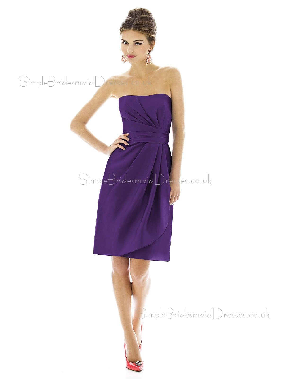 Empire Sleeveless Bateau Purple Short-length Satin Column-Sheath ...