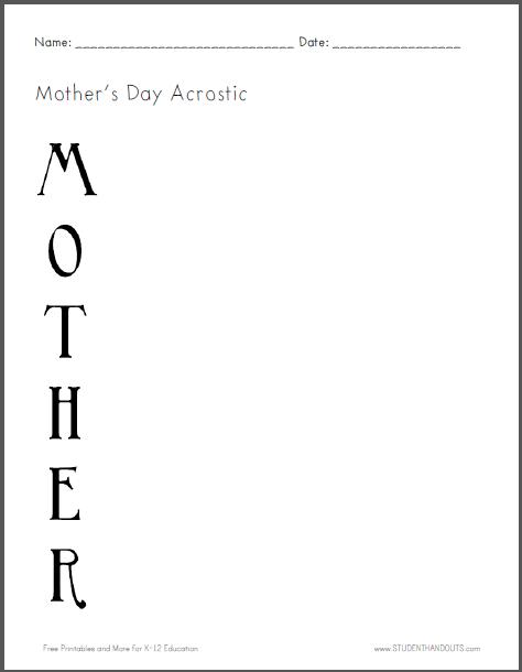 mother 39 s day acrostic poem worksheet free to print pdf file holidays worksheets poems. Black Bedroom Furniture Sets. Home Design Ideas
