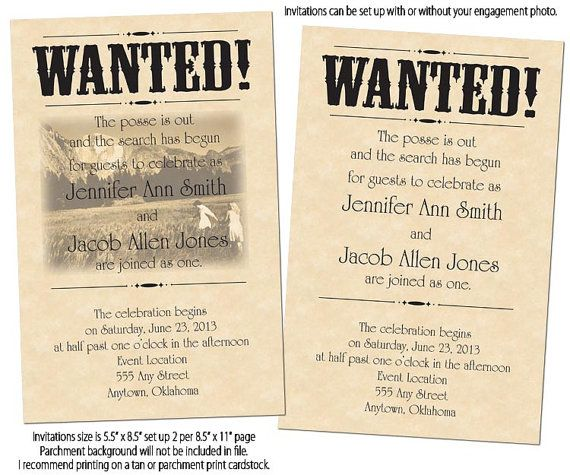 Printable Wanted Poster Wedding Invitations Reply Cards Via Etsy Great For A Country Western Outdoor Or Barn