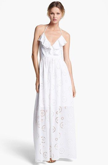 6af909d193f Betsey Johnson Halter Eyelet Maxi Dress