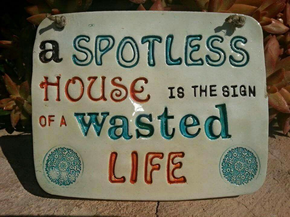 A spotless house is a sign of