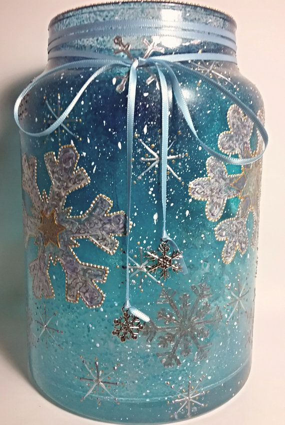 Winter Flurry Snowflakes Hand Painted Glass by
