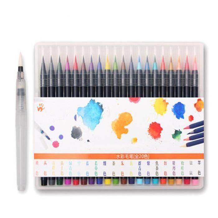 Tempsa Set De 20 Couleur Stylo D Aquarelle Pour Peinture Pinceau