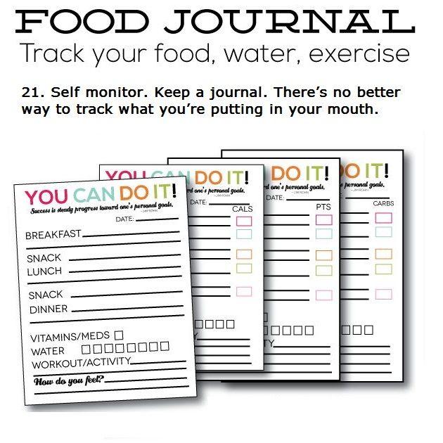 food and fitness journal printable