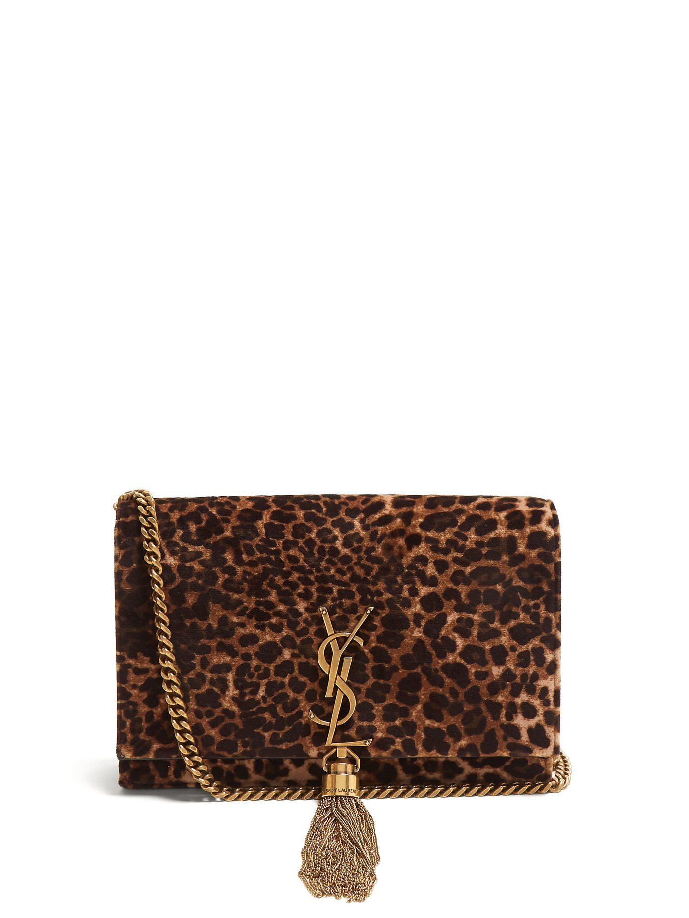 d9250315557c Kate small leopard-print velvet cross-body bag . Yves Saint Laurent reworks  its covered Kate bag with this iteration which is presented in soft brown  ...