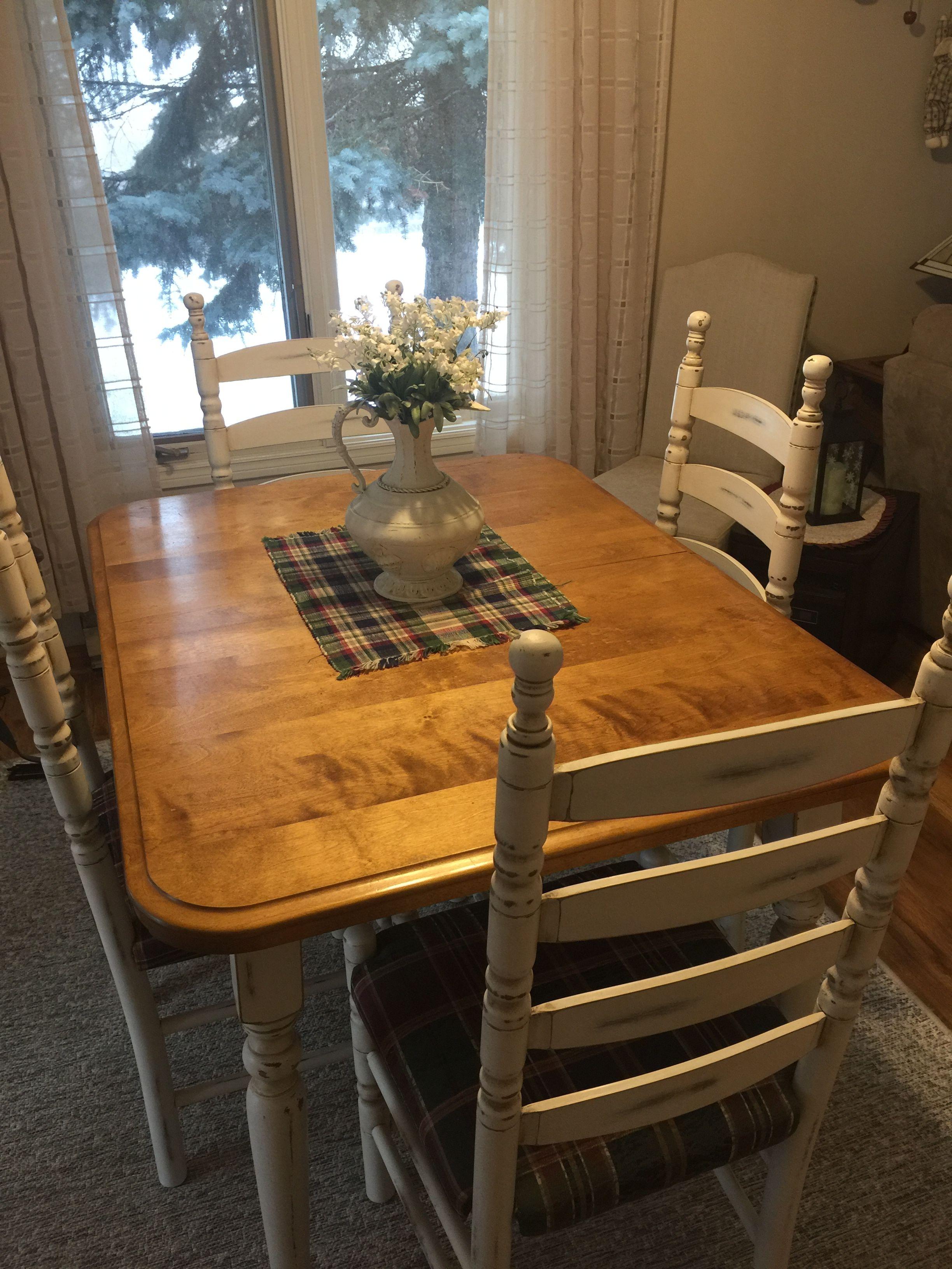 Dining table set painted in benjaminmoore laceypearl