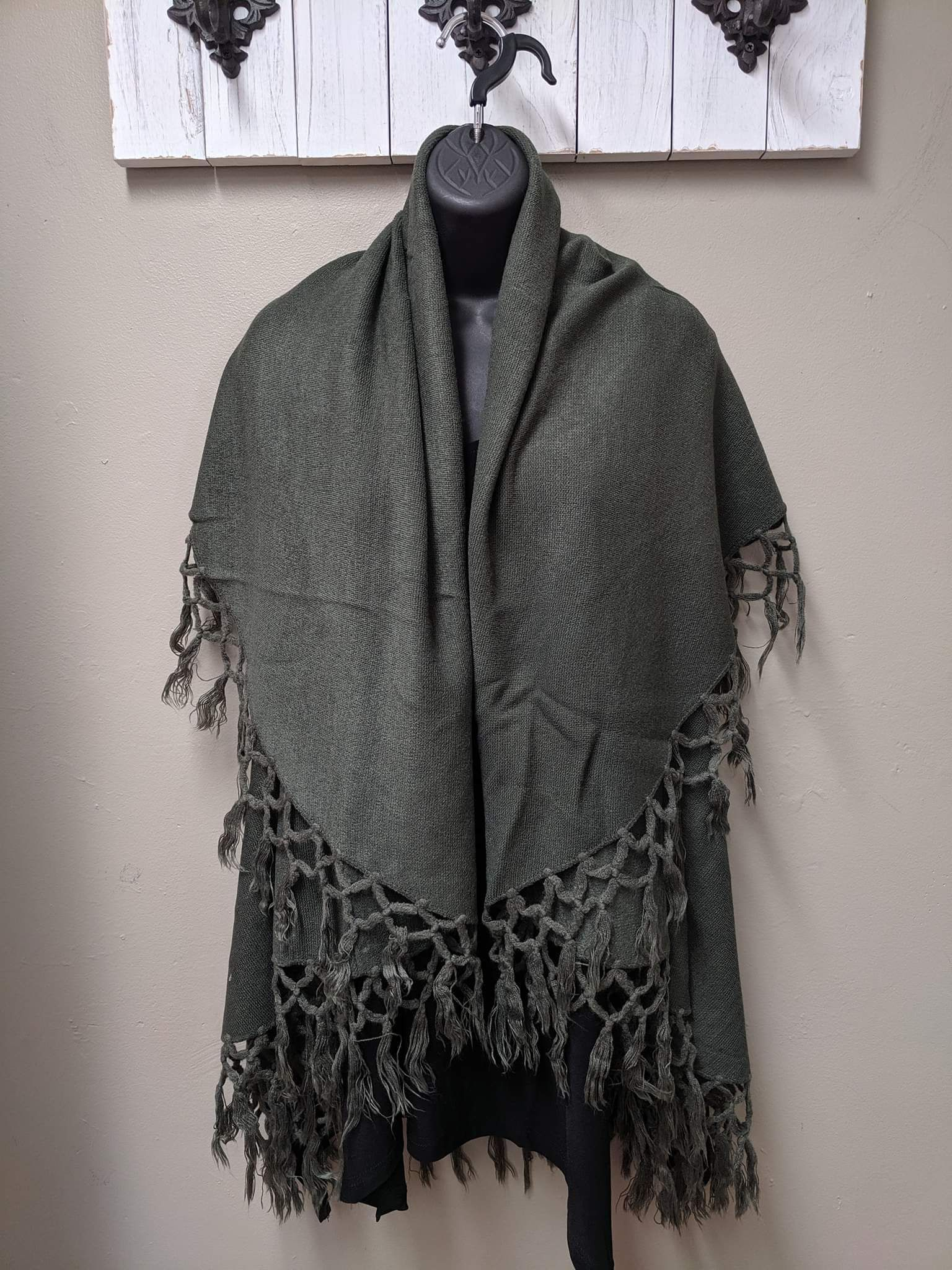 Print & Solid Colors - Double Layer Cape - One Size / Olive