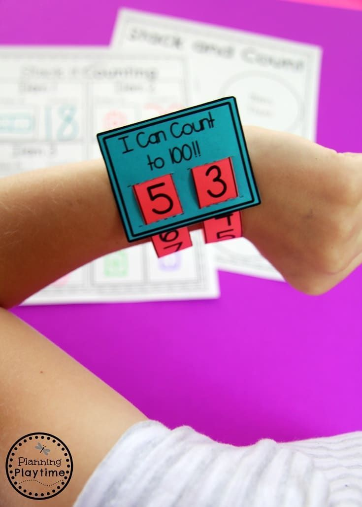i can count to 100 wristband fun 100s day activity for kindergarten mengen gr en mathe. Black Bedroom Furniture Sets. Home Design Ideas