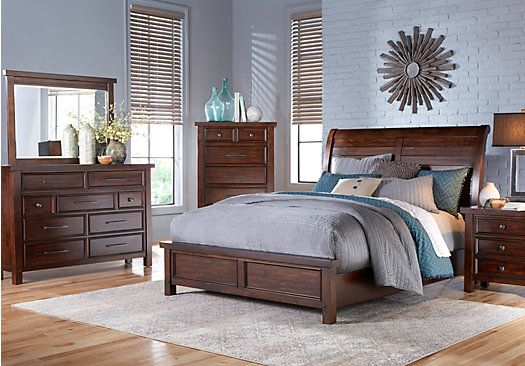 mango burnished walnut 7 pc queen sleigh bedroom home sweet home rh pinterest com
