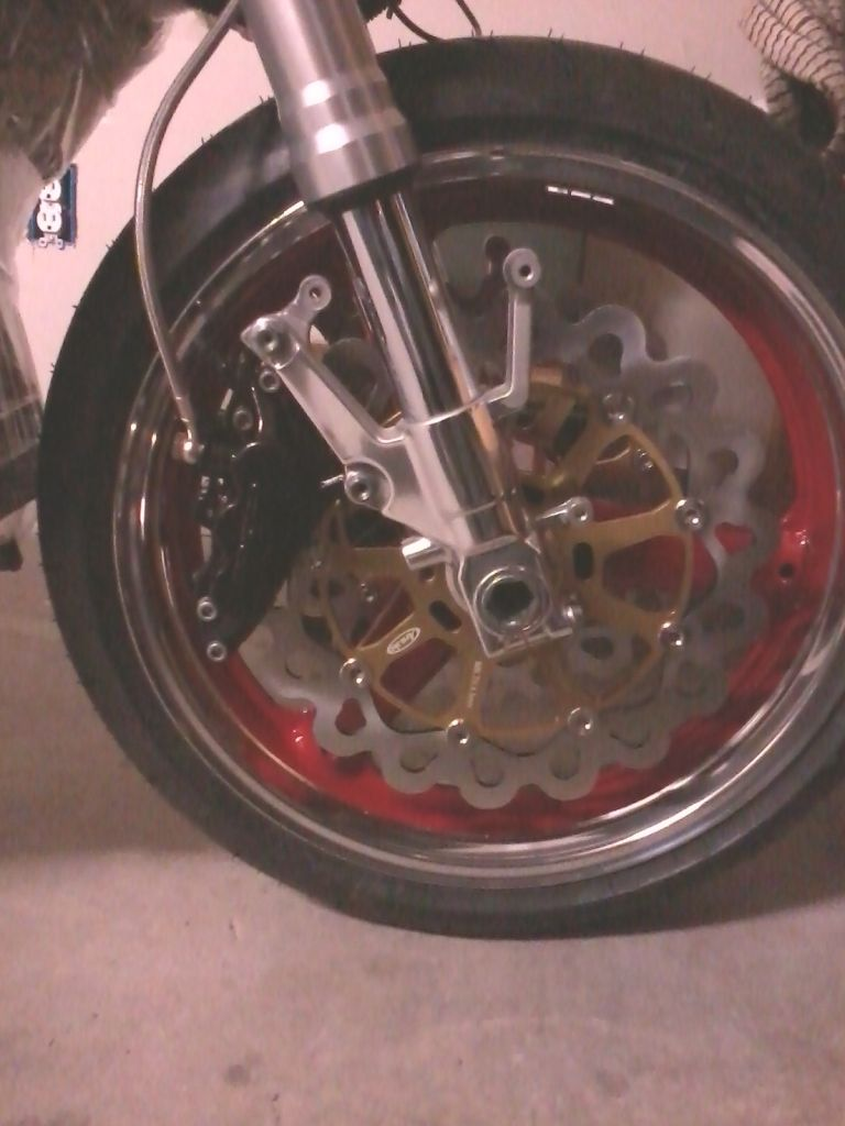 front wheel and clamps installed along with wave rotors and braided rh pinterest com