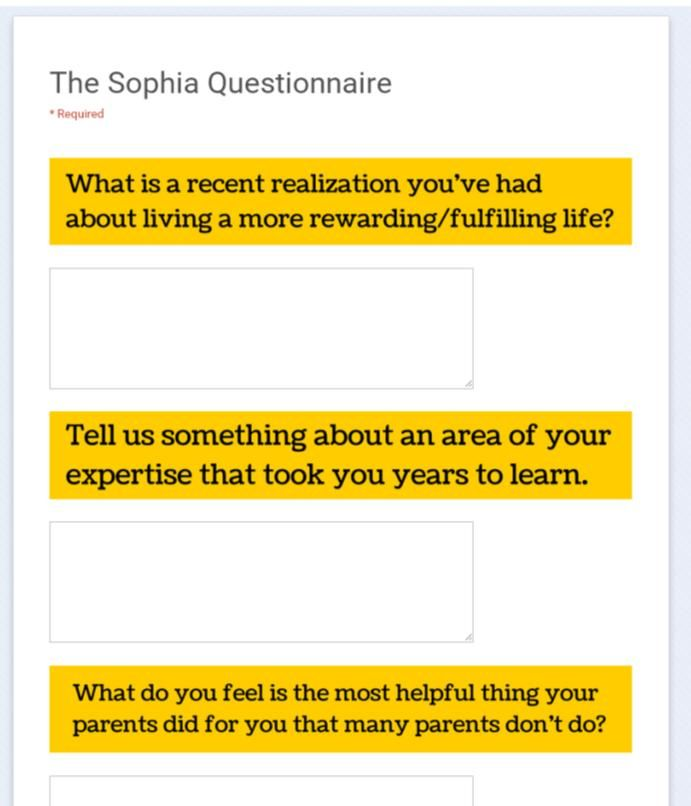 The Sophia Questions - to ask yourself (or your mom, your ...