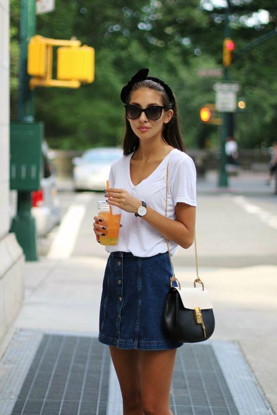 Jeansrock Kombinieren Diese Styling Regeln Beherrschen Modische Frauen Outfit Jeans Rock Jeansrock