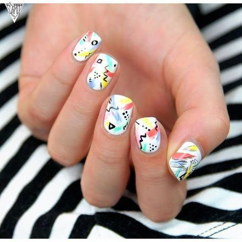 80s nails artsy abstract nails tutorial 90spictures