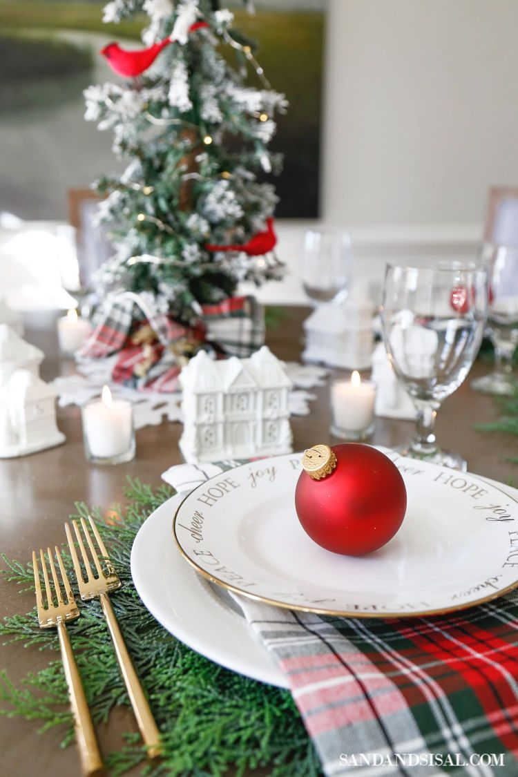 Christmas Village Table Setting And Holiday Entertaining Ideas Christmas Place Settings Holiday Entertaining Decor Christmas Table Decorations