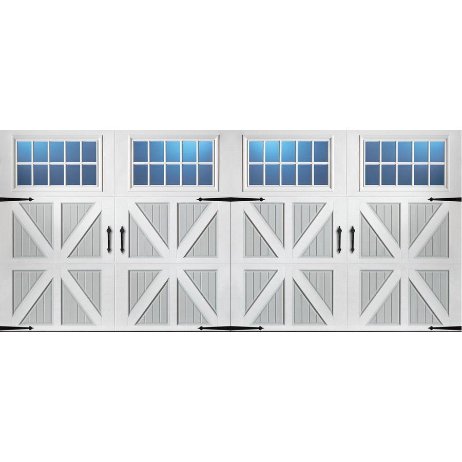 Pella 192-in x 84-in Insulated True White-Gray Double Garage