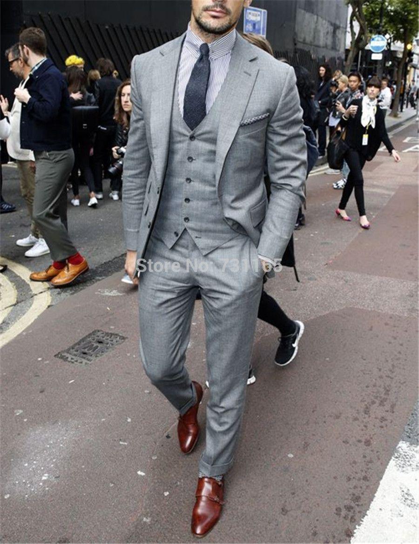 New Shape Slim Fit Groom Wedding Suit Tuxedos For Men 2016 Design Blazer Suits 3 Pieces Menssuits