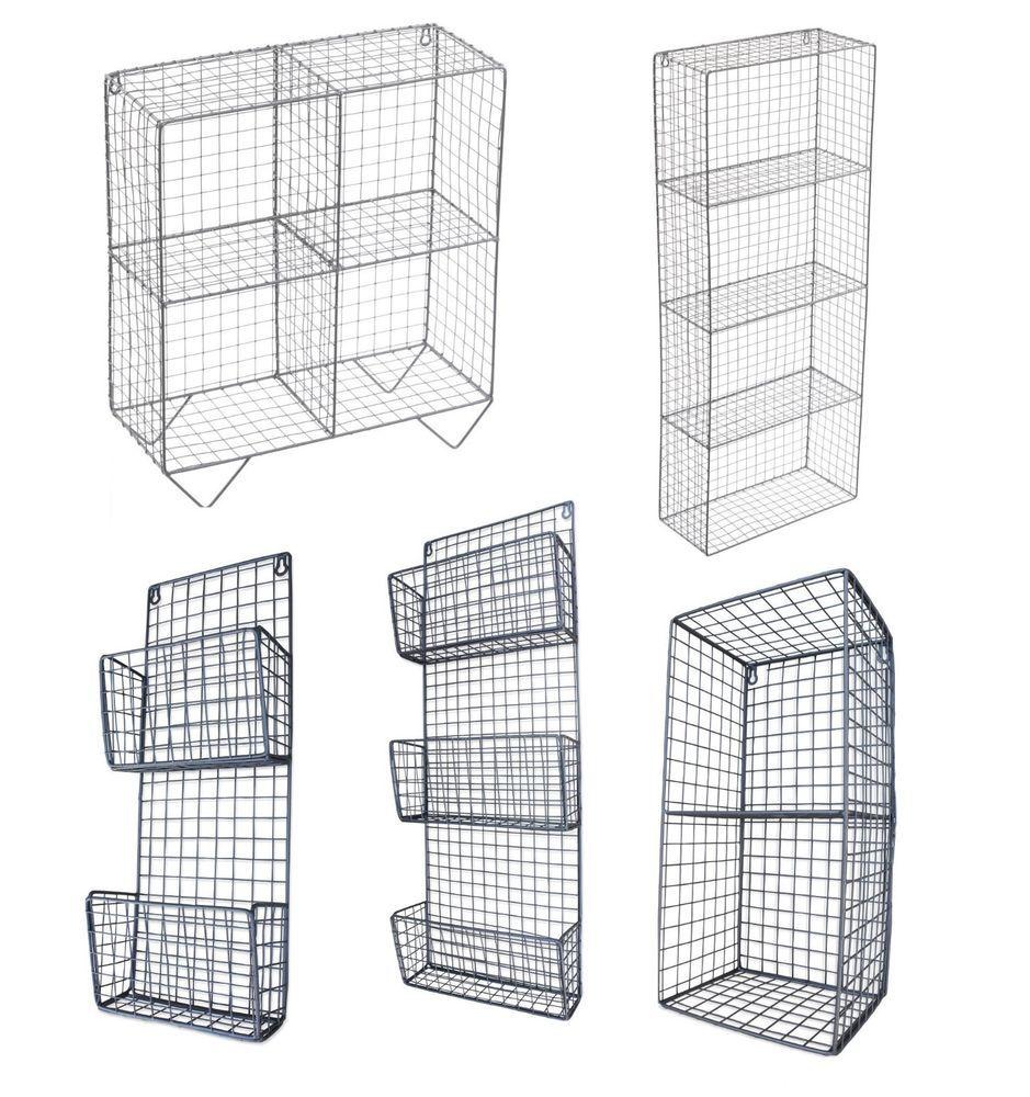 metal wire wall mounted cubes shelving basket shelf rectangle rh pinterest com