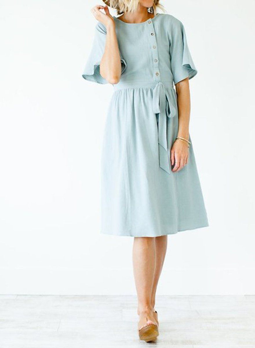231d2065229e Sweet Casual Woven Midi Dress in 2019 | To Help Me Look Cute ...