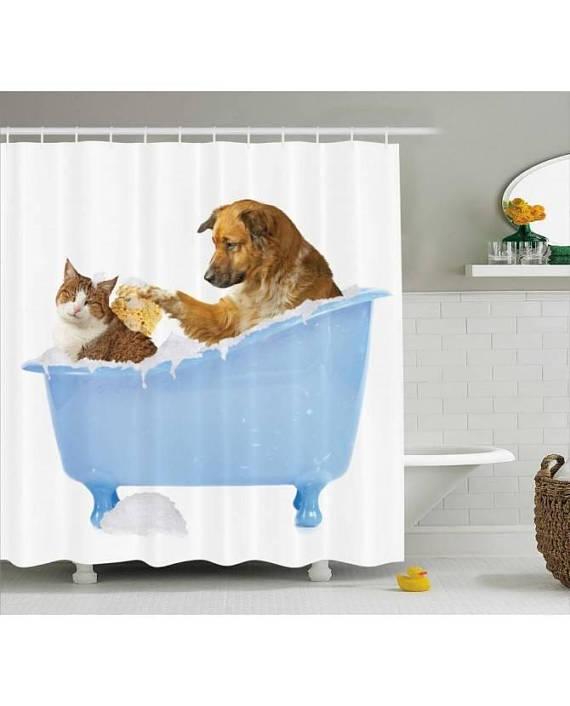 Cat And Dog Shower Curtain Fun Bathroom Decor Curtai