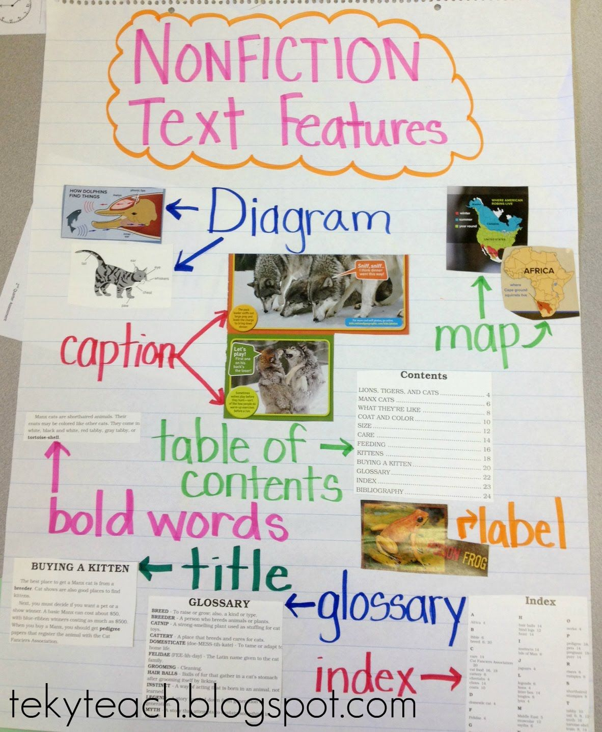 The Techy Teacher Nonfiction Text Features Anchor Chart