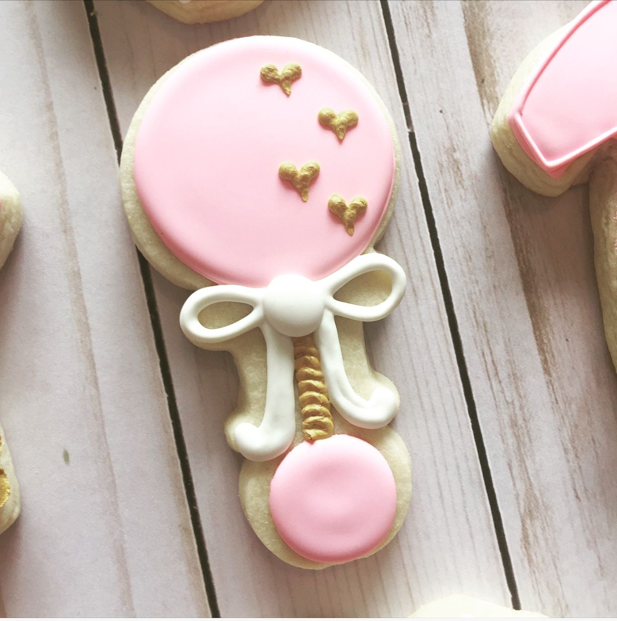 Royal Icing Baby Shower Rattle Cookie