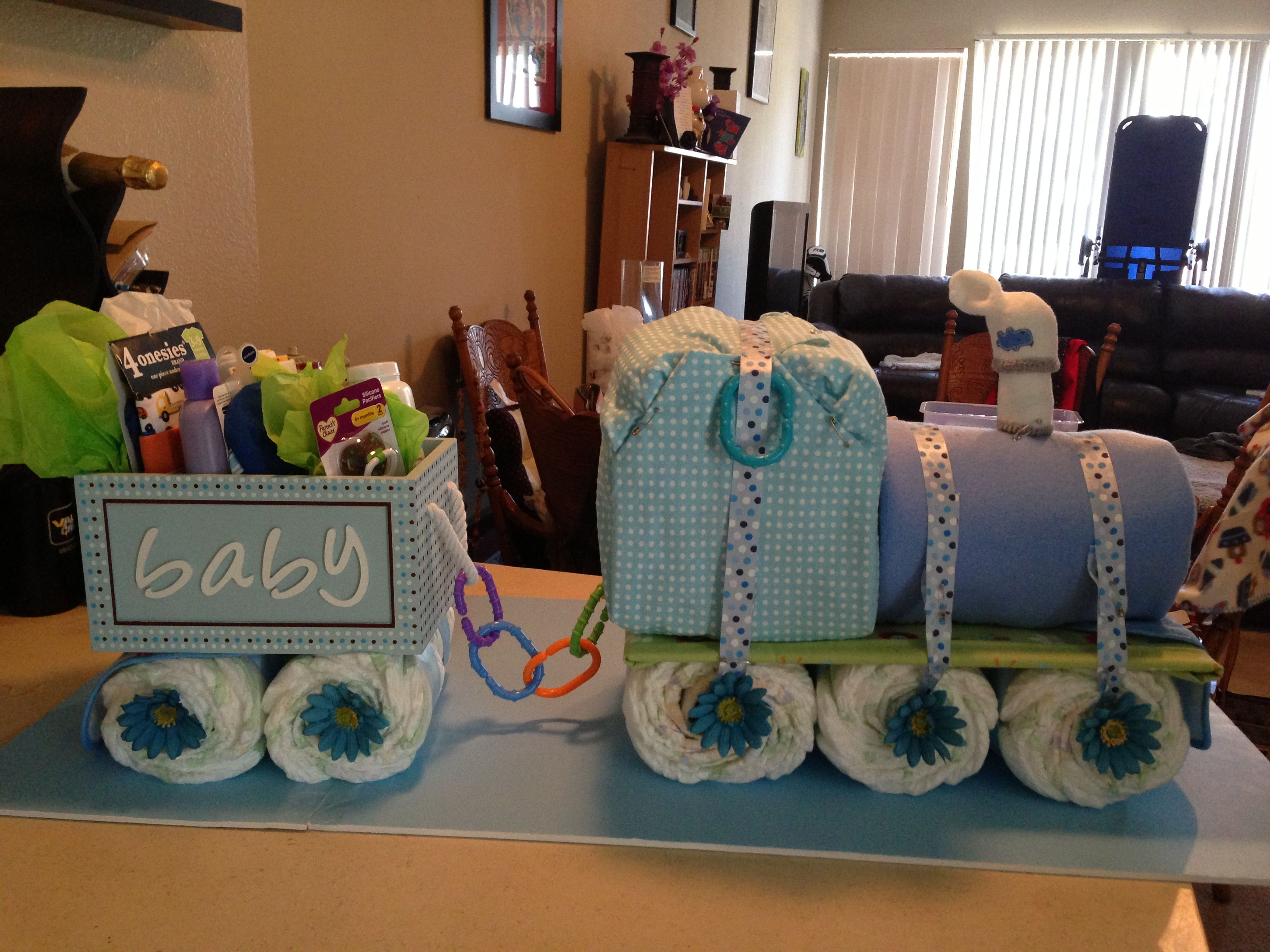 unique homemade baby shower invitation ideas%0A DIY Big diaper train  Stands over a foot tall  Cute idea for baby showers