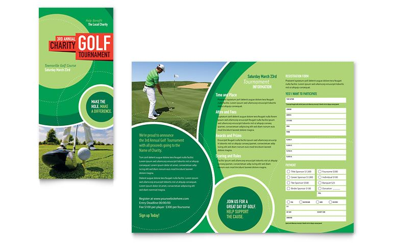 Golf Tournament Tri Fold Brochure Template Design Branding Ideas - Free publisher brochure templates