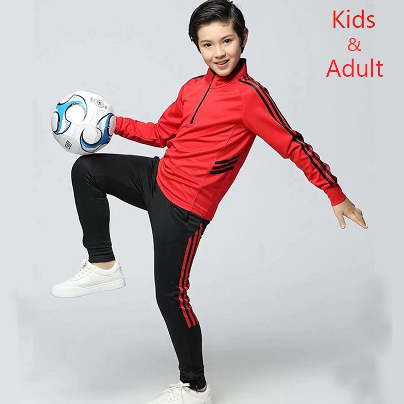 53f4917e4 Adult and Children Long Sleeve Soccer Uniforms Football Jerseys Zipper  Training Suit Tracksuits Set Soccer Jerseys Shirt + Pants Price  48.42    FREE ...
