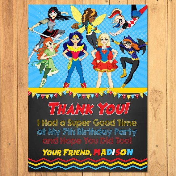 DC Superhero Girls Thank You Card Chalkboard