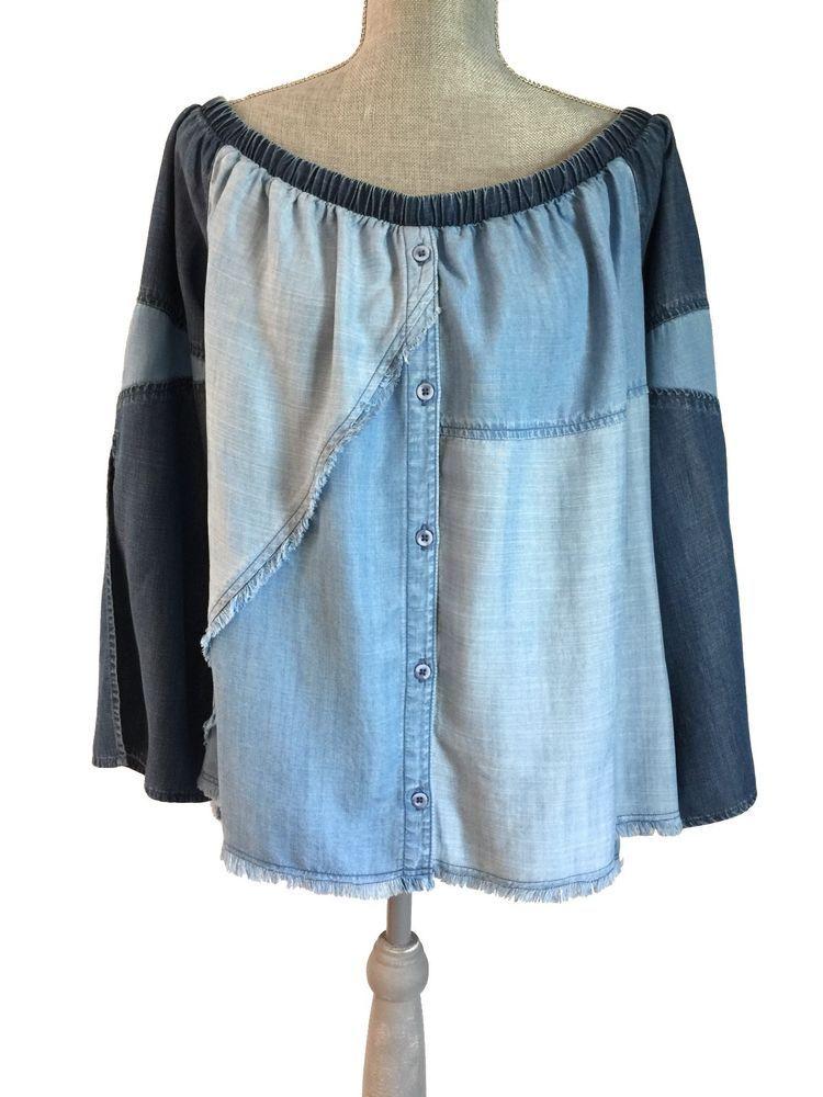 07de374024e2 Anthropologie Cloth & Stone Bella Dahl Patchwork Fray Hem Off Shoulder Top  L NEW #Anthropologie #Blouse #Casual